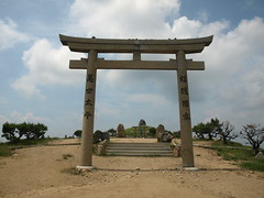 landmark, shinto shrine, ruins, torii, column,