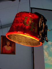 art, lamp, clothing, light fixture, yellow, lampshade, red, light, design, lighting,