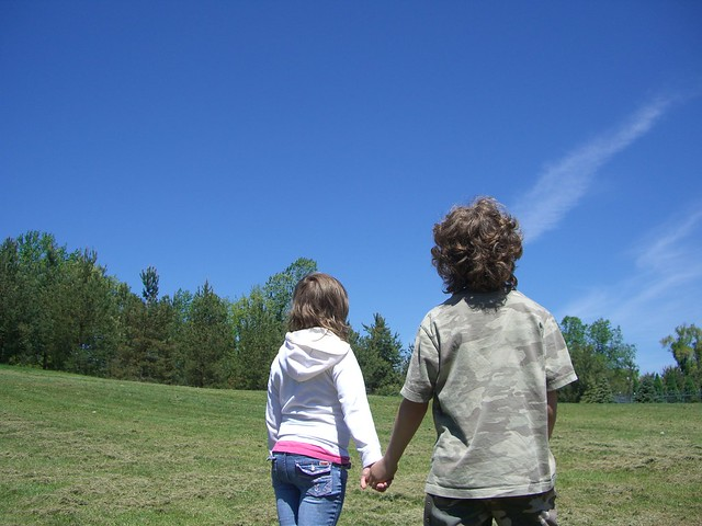 Children looking at the sky