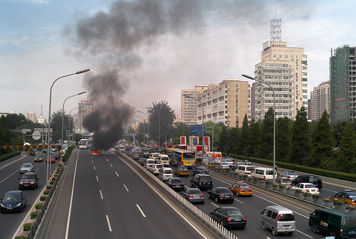 beijing burning car