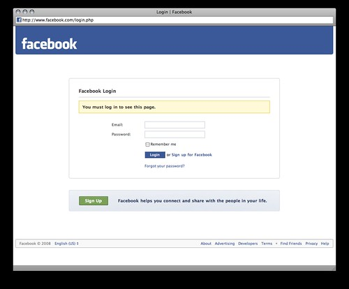 splash page facebook login