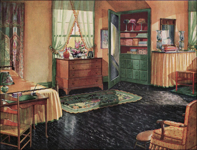 1930 bedroom armstrong linoleum flickr photo sharing for Bathroom ideas 1920s home
