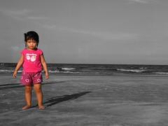 Yuri at the beach - B&W