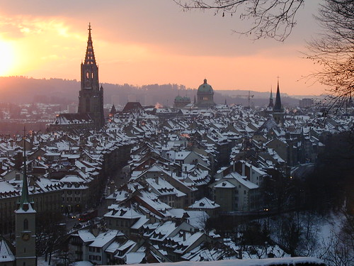 Sunset over Bern, Switzerland. Photo courtesy of GenevaLife via Flickr.