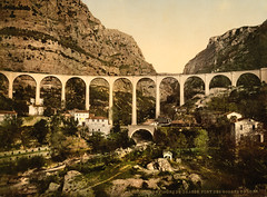 Gourdon, bridge over Gorges de Loup, Grasse, France, ca. 1895