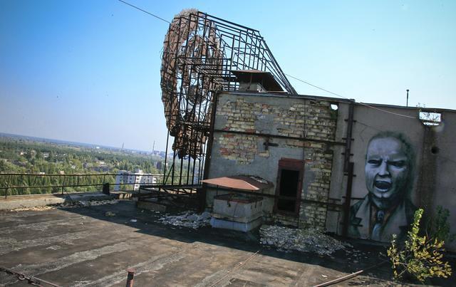 Pripyat apartments rooftop, Chernobyl