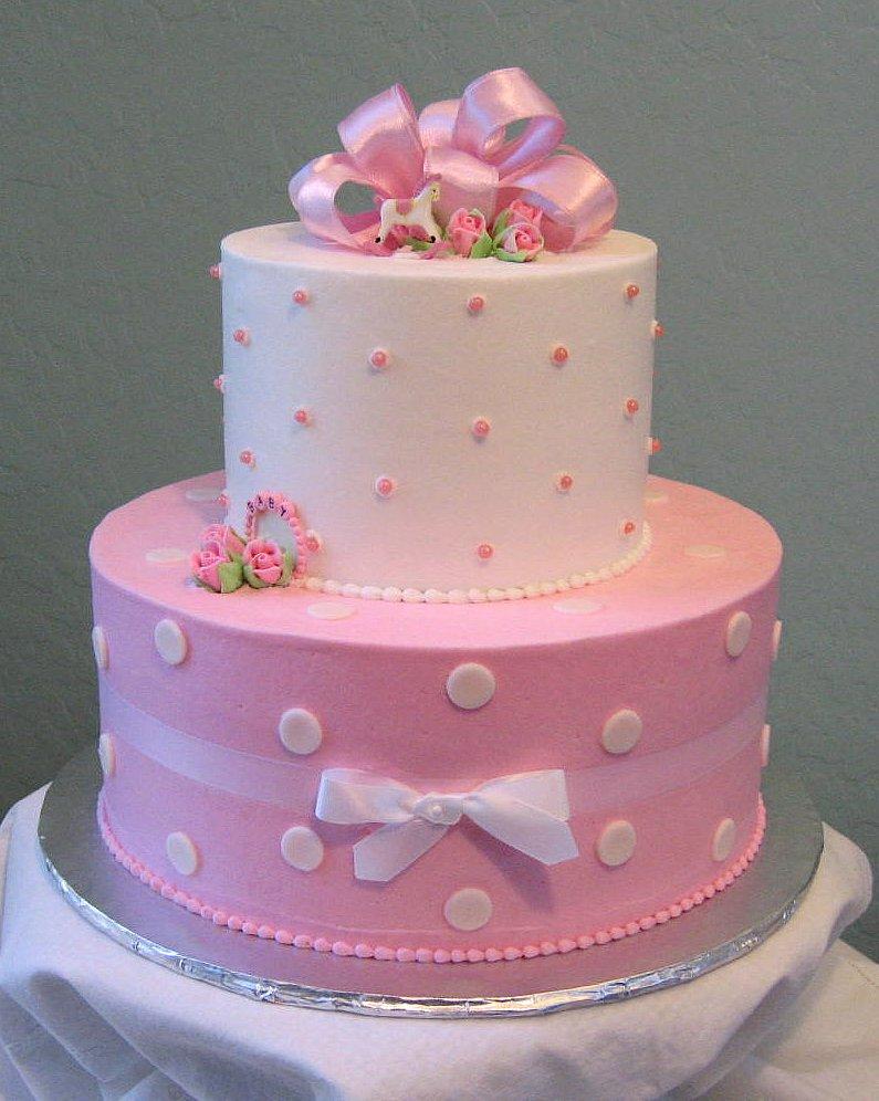 Cake Designs With Polka Dots : Pink Polka Dot Baby Shower Cake Flickr - Photo Sharing!