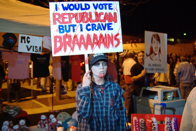 Palin Rally - Zombie protestor
