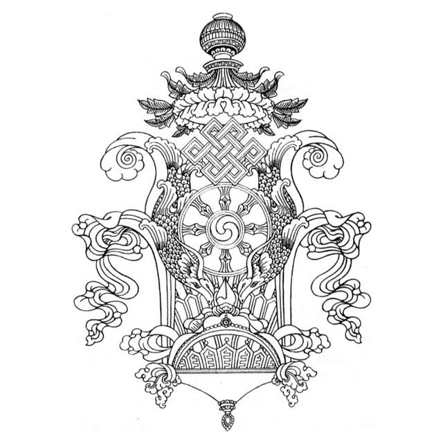 吉祥动物瓶子青花瓷图片简笔画