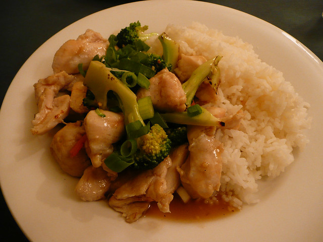 Broccoli and chicken stir-fry with garlic sauce, and rice | Flickr ...