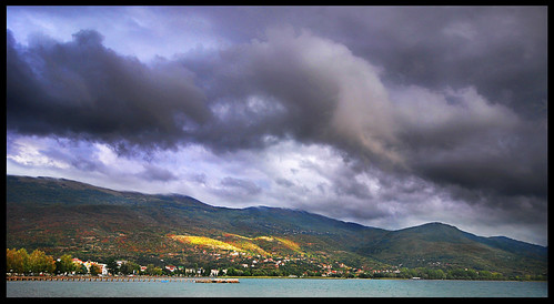 sky lake water clouds contrast nikon hills macedonia shore chiarascuro easterneurope fyrom lakeohrid d80 formeryugoslavianrepublicofmacedonia