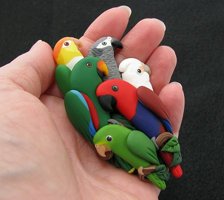 Custom Parrot Pin with 6 Birds