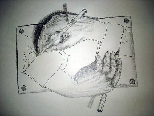 "Mi  version de ""Hands drawing hands"" de M.C. Escher"
