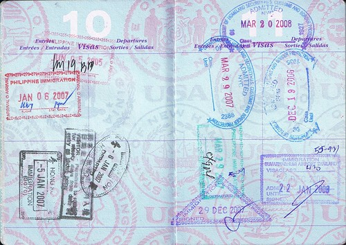 USA Passport; Hong Kong, Philippine, Thailand, and USA stamps