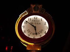 Sacramento Photowalk: Fred Mayes Diamonds Clock at Night (DSC00754)