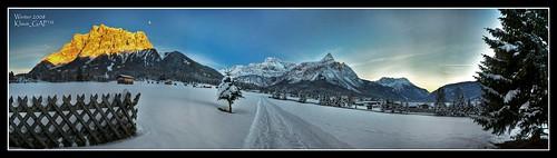 winter sunset mountain snow mountains cold tree berg fence germany geotagged bayern deutschland bavaria austria österreich sonnenuntergang berge trail ehrwald zaun baum hdr zugspitze hdrpanorama zugspitzarena