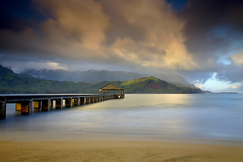ocean travel wallpaper vacation sky usa seascape beach nature clouds sunrise landscape hawaii pier paradise pacific kauai 5d hanalei princeville 1740l awardedbipg