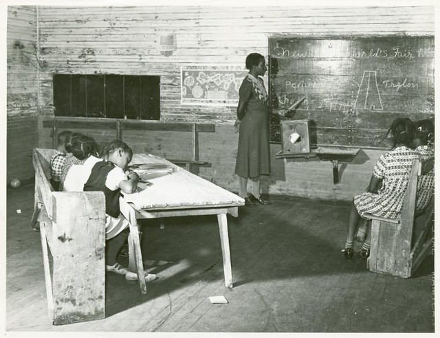 Interior of school on Mileston Plantation; School begins ver...