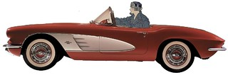 Woman driving a Corvette, after Edward Penfield