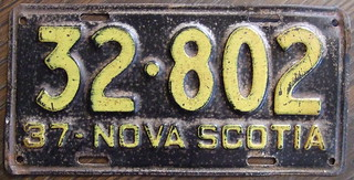 NOVA SCOTIA 1937 license plate