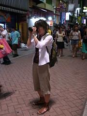 Ami wearing gladiator sandals on shooting in Shibuya Centergai street, P2000279