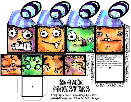 Beanie Monster Paper Toy Template