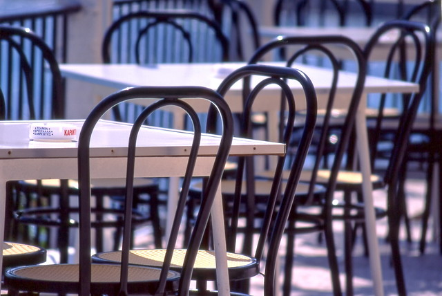 Chairs and tables, by Konstantinos Dafalias