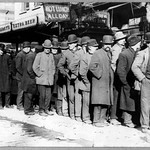 Bowery men waiting for bread in bread line, New York City, Bain Collection (LOC)