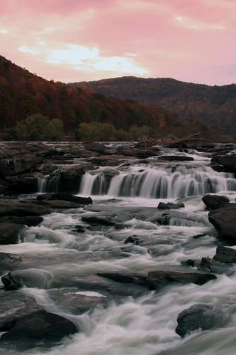 sunset fall landscape waterfalls