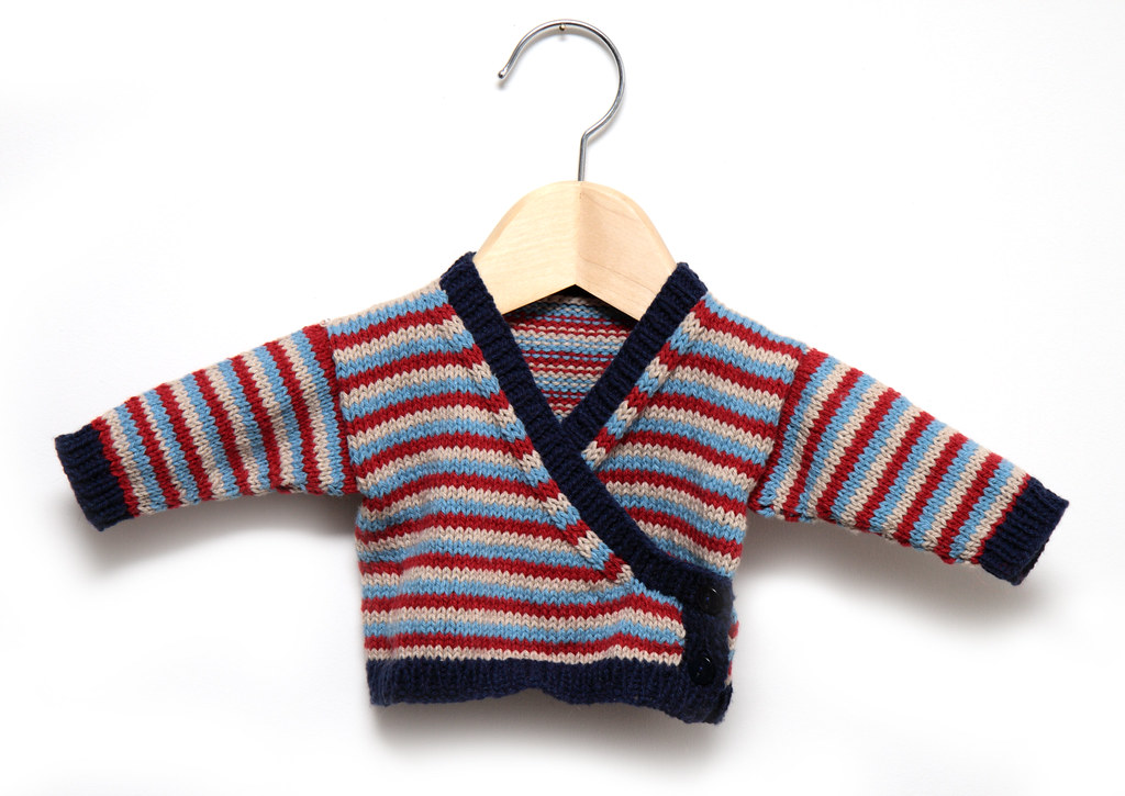Baby Wrap-Cardigan free knitting pattern on It\'s a Stitch Up