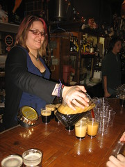 Rachel pours the beers