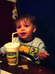 digging his own big cup and straw   DSC00848