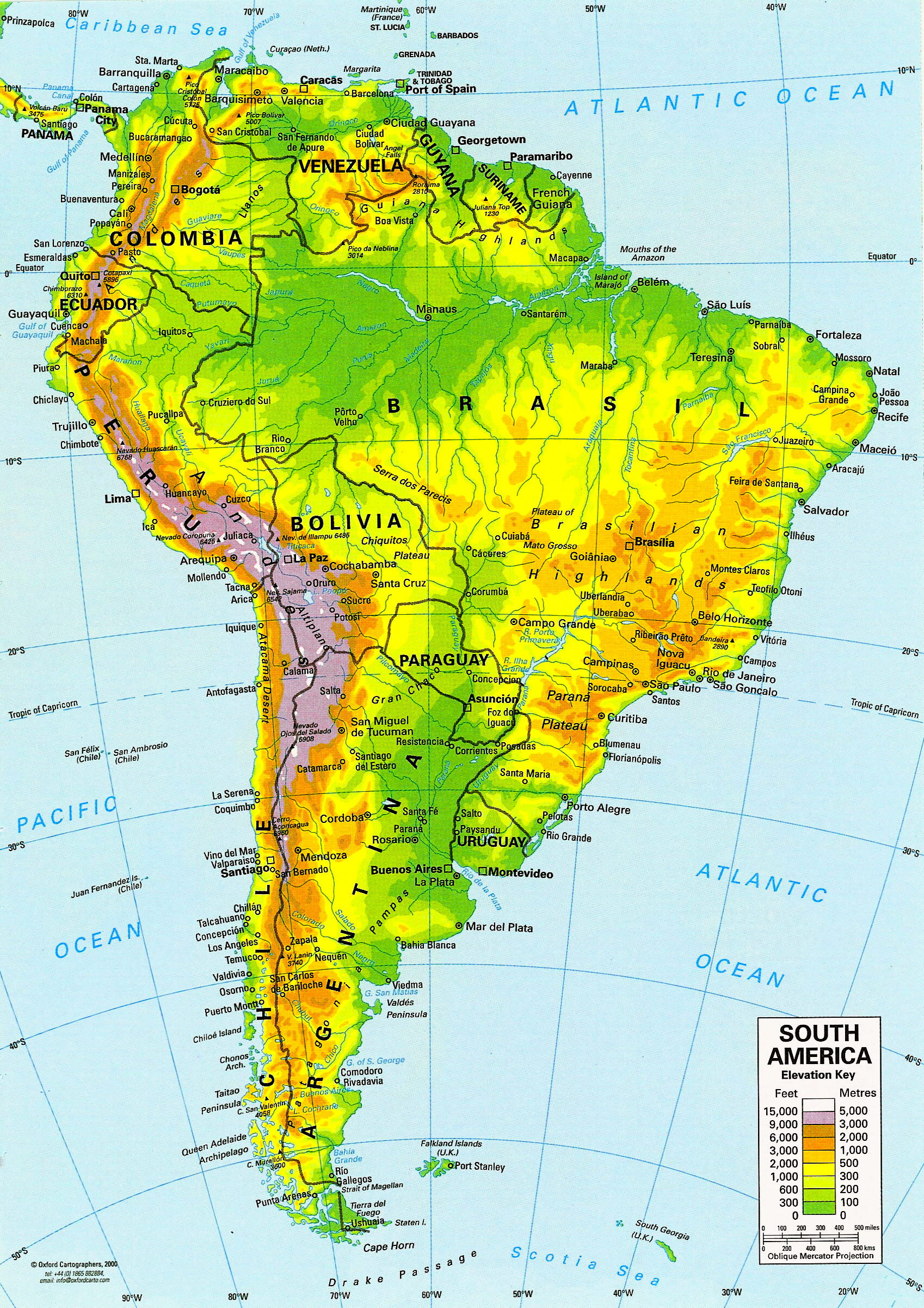 North America Physical Map Freeworldmapsnet South America - Sur america map