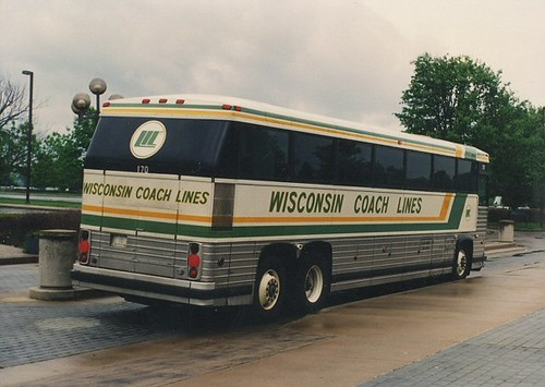 Wisconsin Coach Lines motorcoach at the Kentucky Horse Farm. Lexington Kentucky. May 1990. by Eddie from Chicago