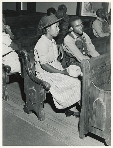 At a meeting of Negro FSA borrowers in a church near Woodvil...