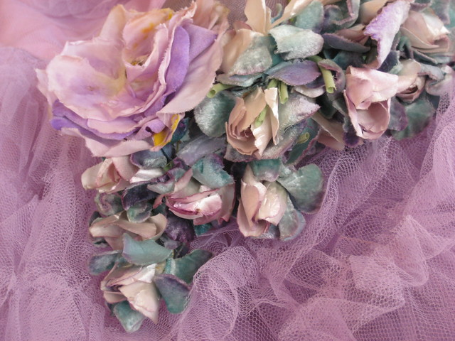 Lilac vintage prom dress and flowers