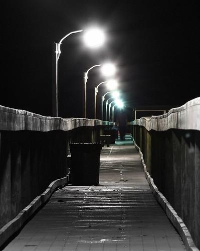 bw night pier nightshot explore views 100views nightsky intercoastal indianriver flickrmostinteresting barefootbay kmprestonphotography barefootbayfl