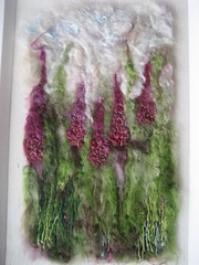 Foxgloves wool and silk embellished felt picture