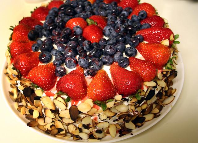 cake, hastily photographed | fresh fruit cake with whipped c ...