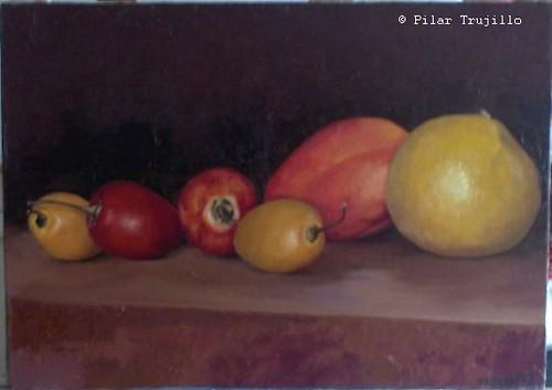 pintura oleo sobre tela frutas