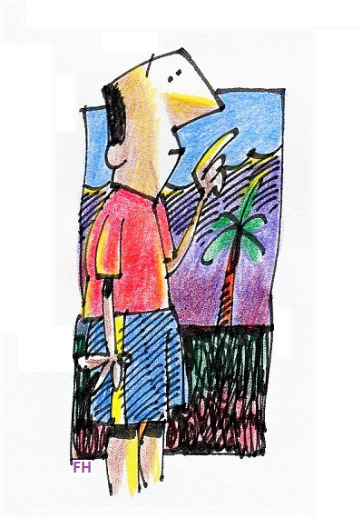 man with palm tree