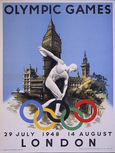 London Olympics flyer with Greek discus throwing statue in front of Big Ben