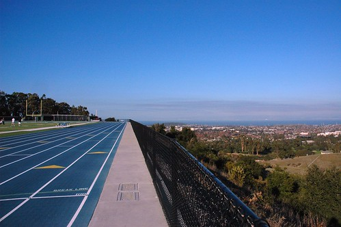 Track with field below, San Mateo, San Francisco Bay, California, USA by Wonderlane