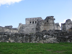 Tulum city with temple in bkgd