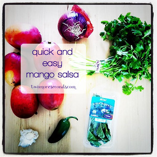Mango salsa : mangos, garlic, cilantro, mint, red onion, jalapeño, fresh lime juice. Chop & mix!! #recipe - 150.365