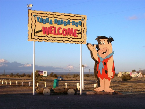 'Yabba Dabba Doo means Welcome' - Welcome Sign on the highway leading to the Grand Canyon, outside the tourist stop at Bedrock City, Arizona (bedrock02xy)