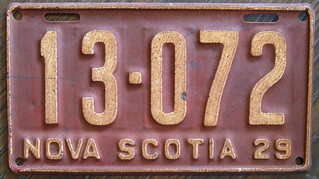 NOVA SCOTIA 1929 license plate