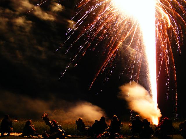 fireworks, suburbs
