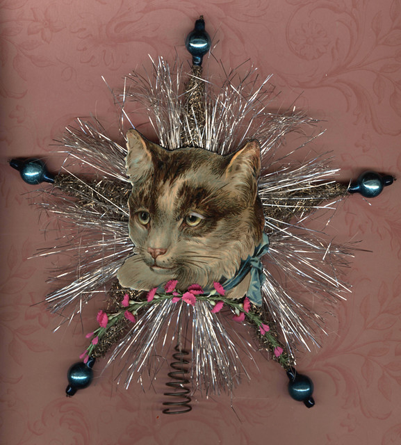 Cat Angel Christmas Tree Topper: Antique Chromolithograph Cat Tree Topper