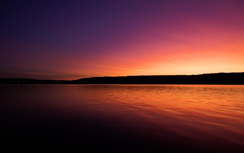 sunset lake water evening keuka keukalake